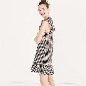 Madewell navy and white gingham ruffle dress